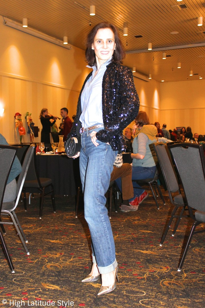 #fashionover50 Nicole in sequin blazer, jeans, silver pumps and button-down shirt