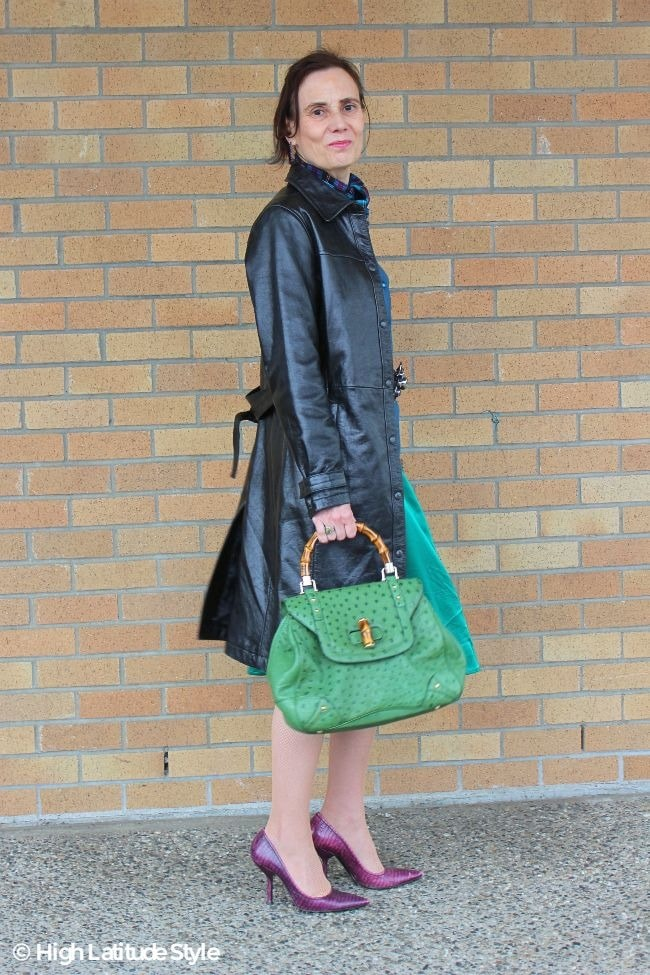 #fashionover50 style blogger Nicole in leather trench coat