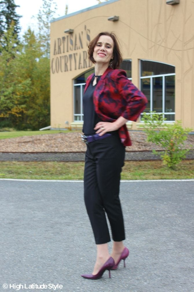 style blogger in a posh casual burgundy, black, and purple fall work outfit