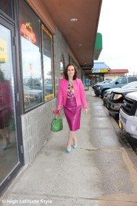#advancedstyle midlife woman in fake suit mall in Alaska