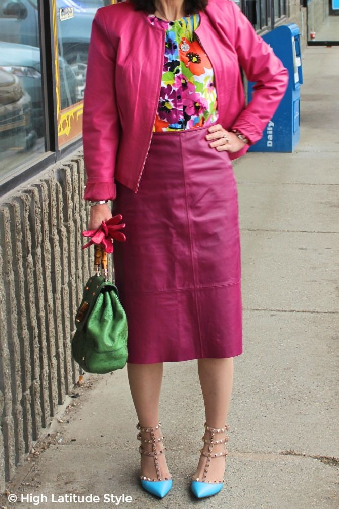 #fashionover50 details of leather suit outfit with floral top