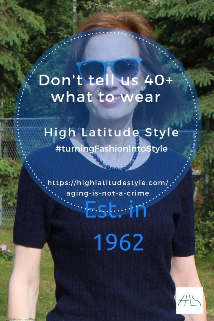 #ageism post banner of Don't tell us 40+ what to wear