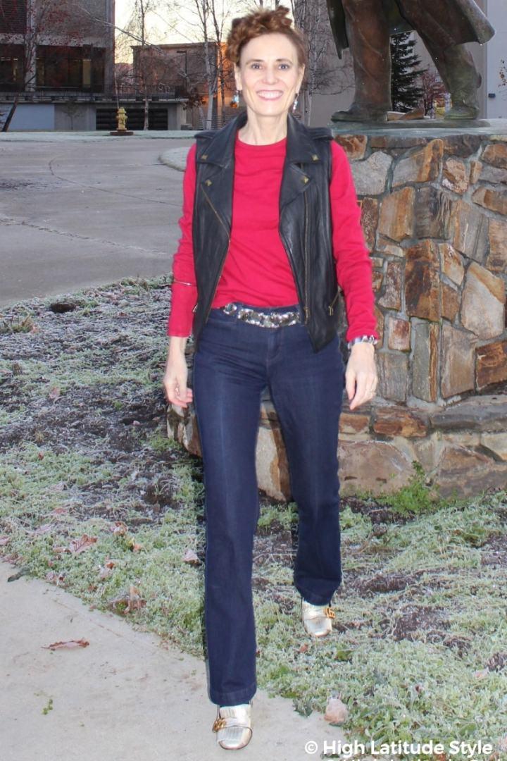 #fallstyle High Latitude Style in pants, sweater, vest, earrings, belt, bangle