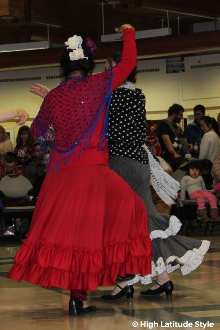 Flamenco dancers in ruffled Flamenco dresses