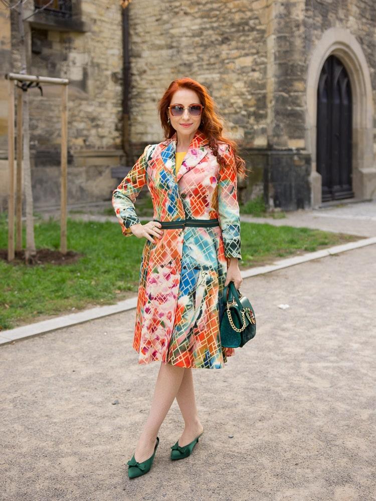 Martina at Elegant 40 in a DIY coat/dress