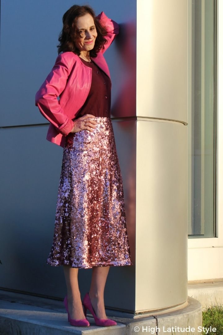 #maturestyle High Latitude Style in monochromatic outfit with sequin skirt, leather jacket, suede high heels, and button front top