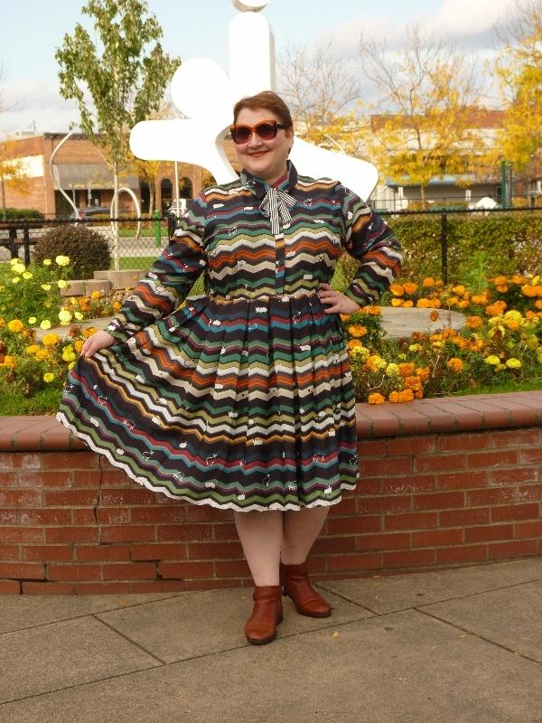 Natalia of Inthe Writer's Closet looking stunning in her DIY zig-zag shirt dress