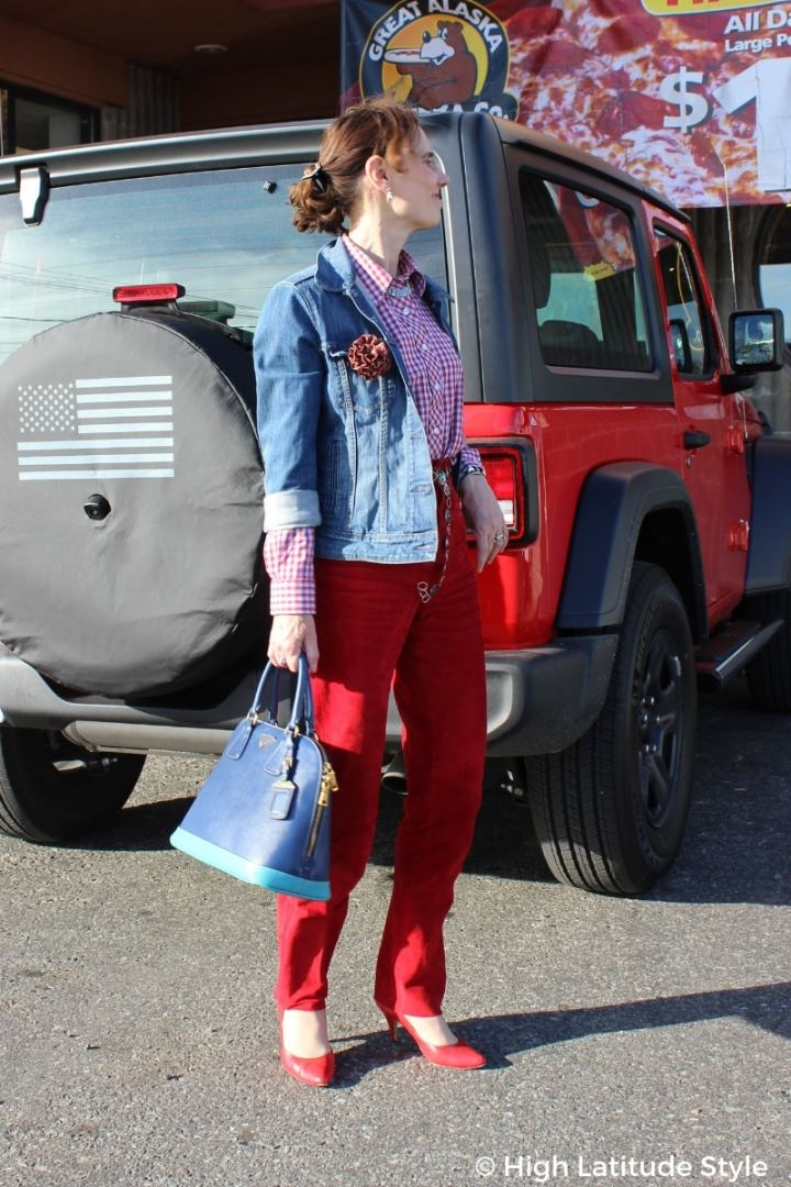 #advancedfashion midlife blogger looking tall in red blue look with vertical seams, heels and high waisted pants