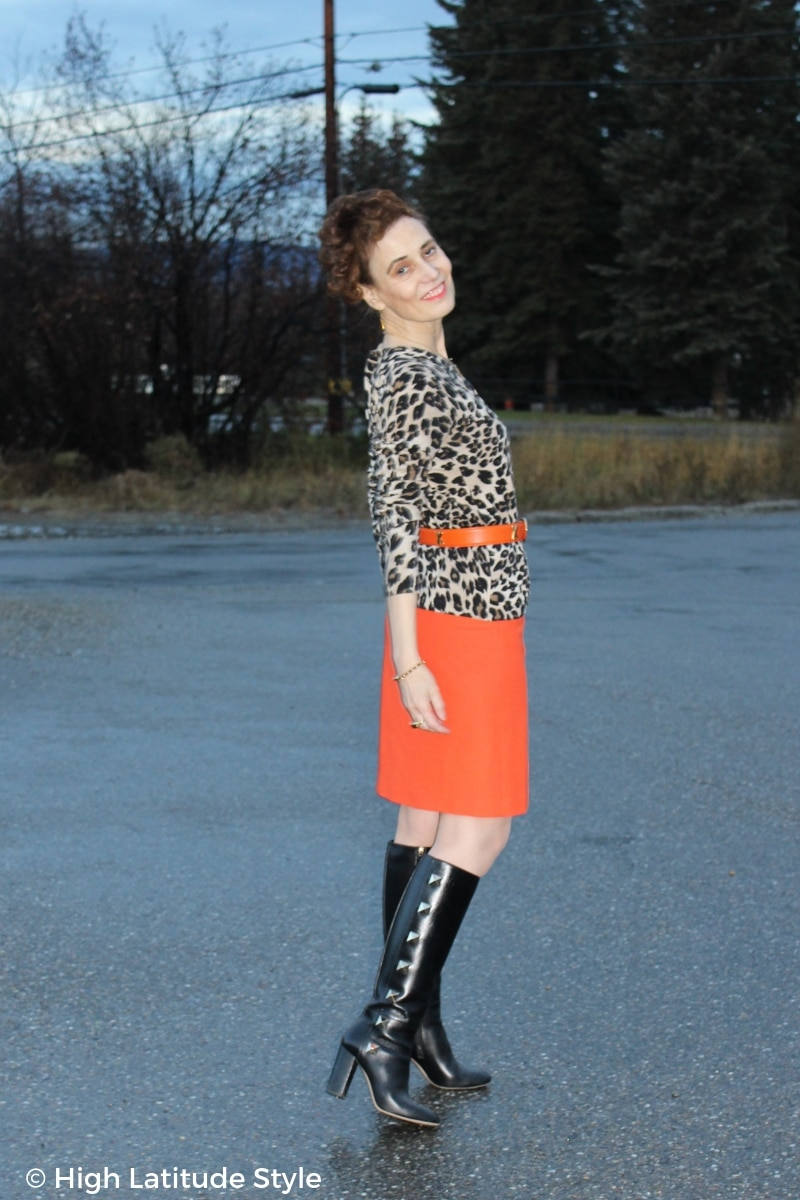 Fashion blogger donning animal print with bold color