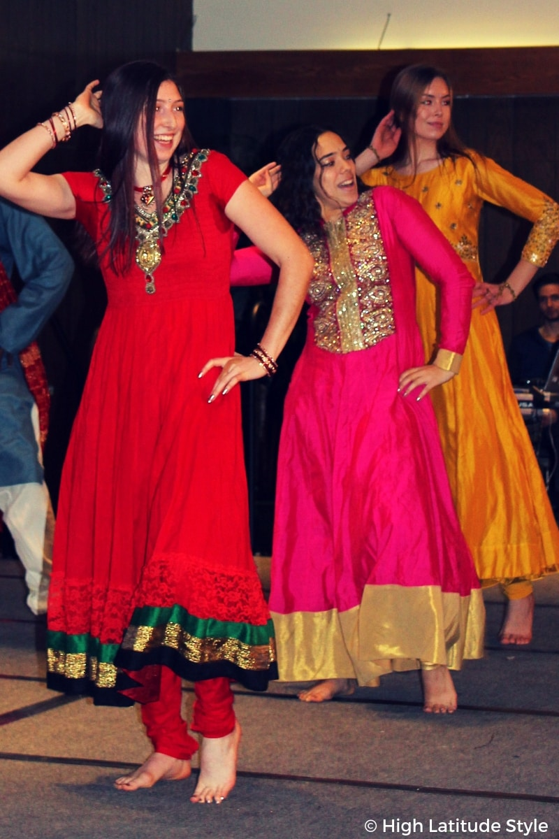 #traditionalclothes three women of Tonya's group in dress over pants