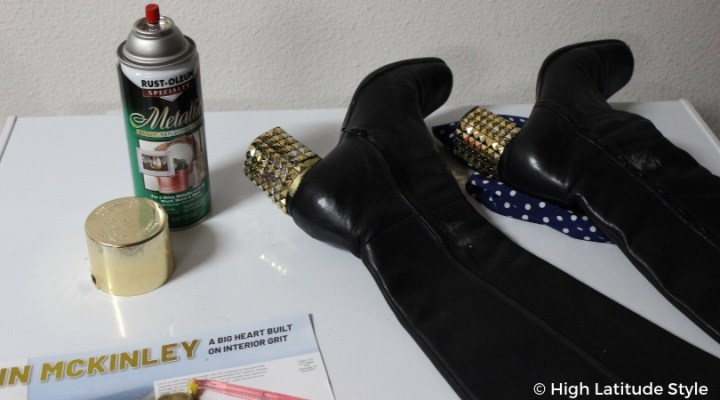 #upcycle #DIYfashion finishing touch of painting the rest of the heels