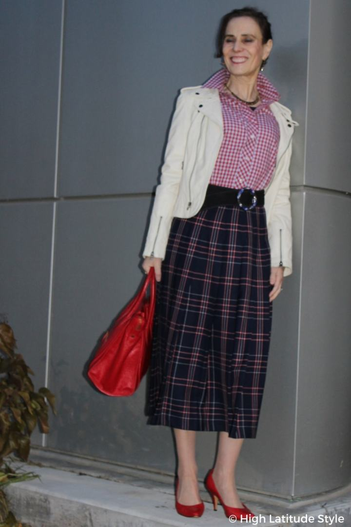 #over50fashion Blogger Nicole in red, white and blue office fall outfit