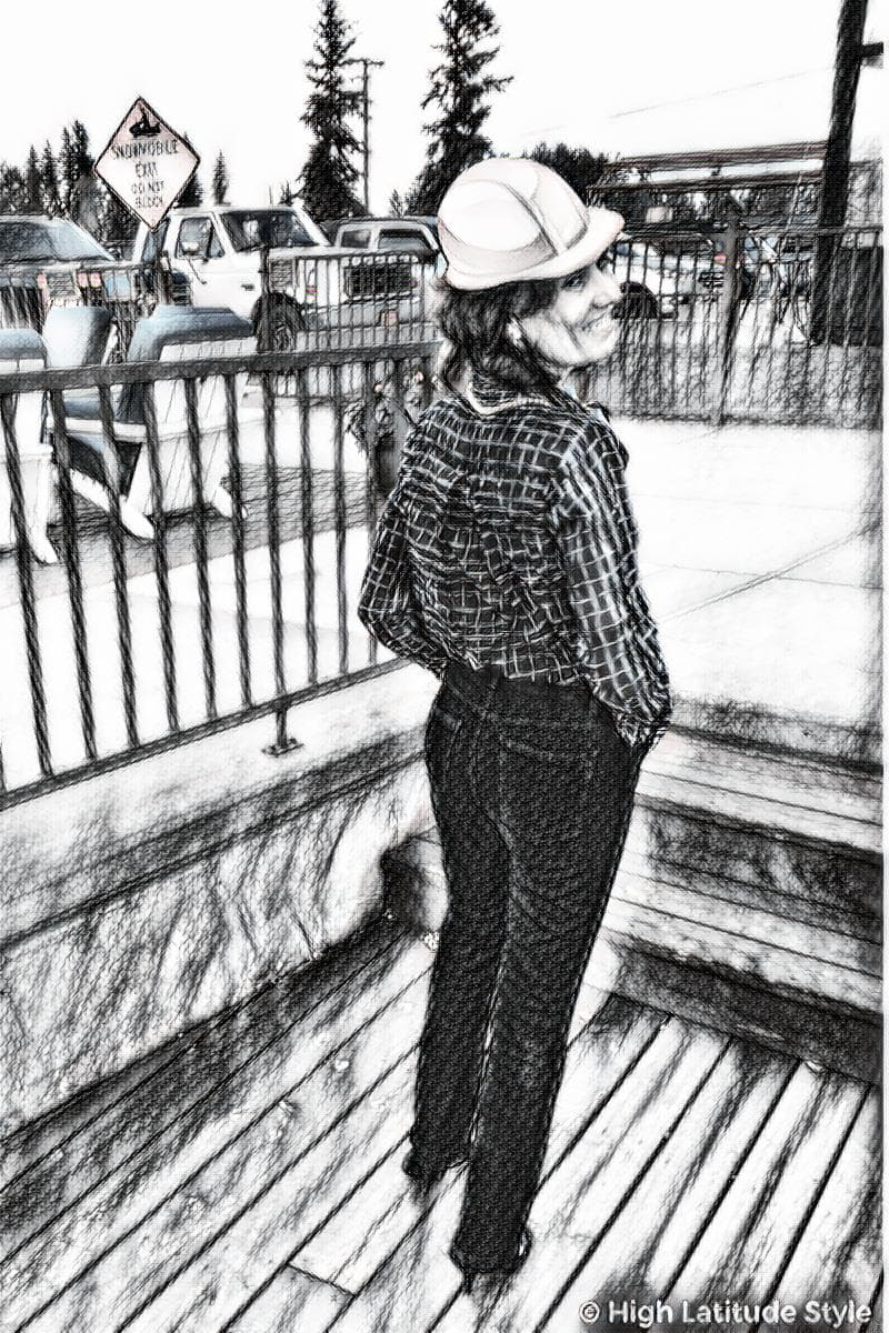 civil engineer sketch of woman engineer in casual Friday look with hard hat