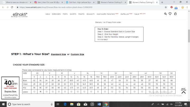 eShakti size chart