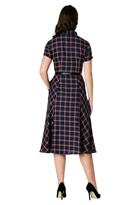 back view of slimming plaid dress