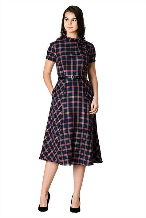 cute plaid dress for the holidays, office and dancing