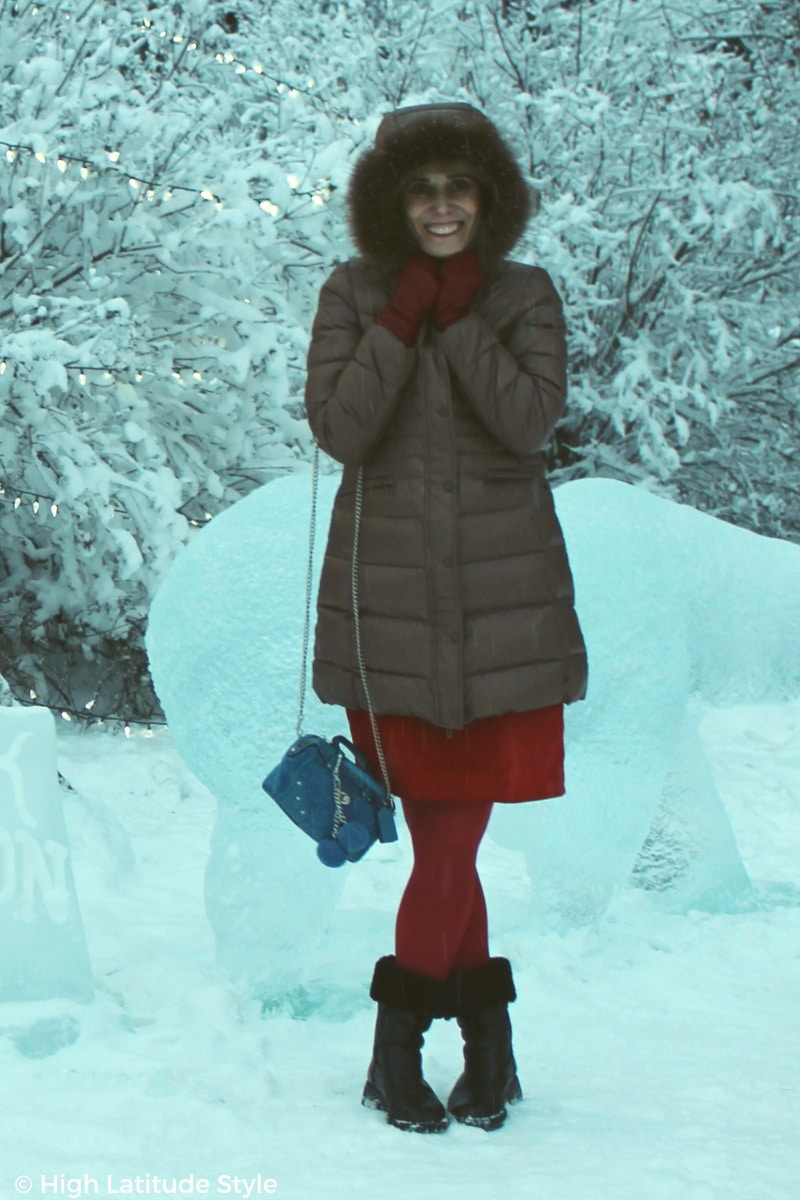 #winterstyle blogger Nicole with a fur trimmed hood