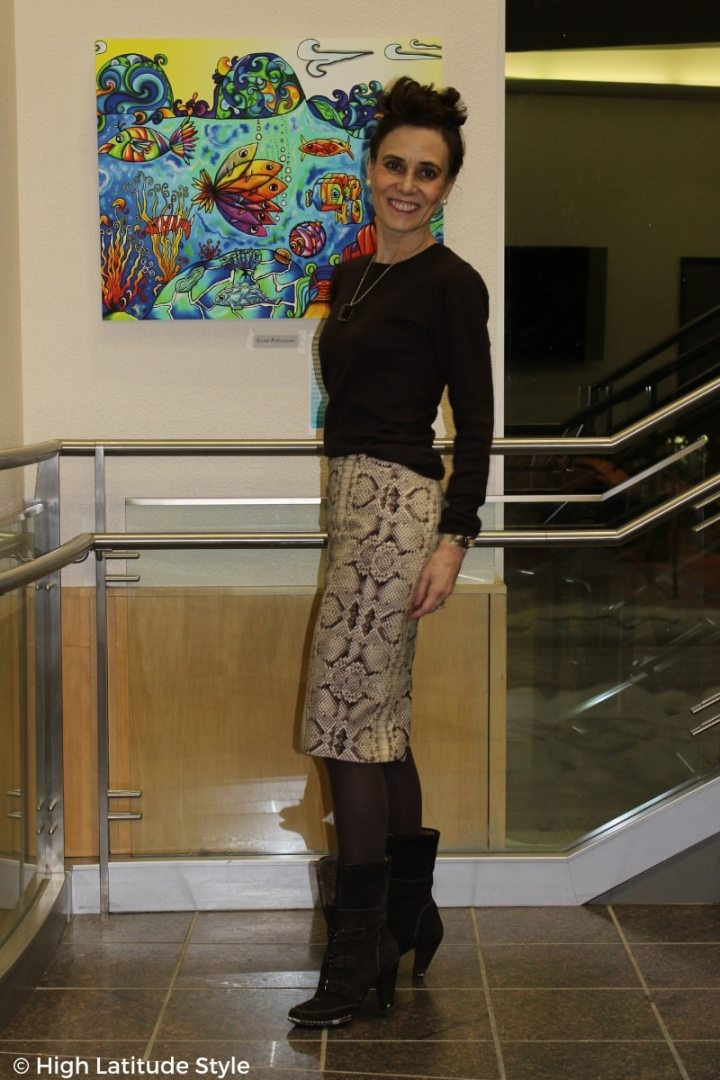 #over50style midlife woman looking great in a cold season office outfit