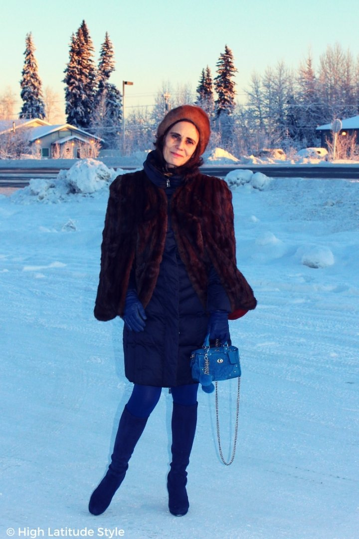 #winterstyle fashionista in cape over coat blue and brown outerwear