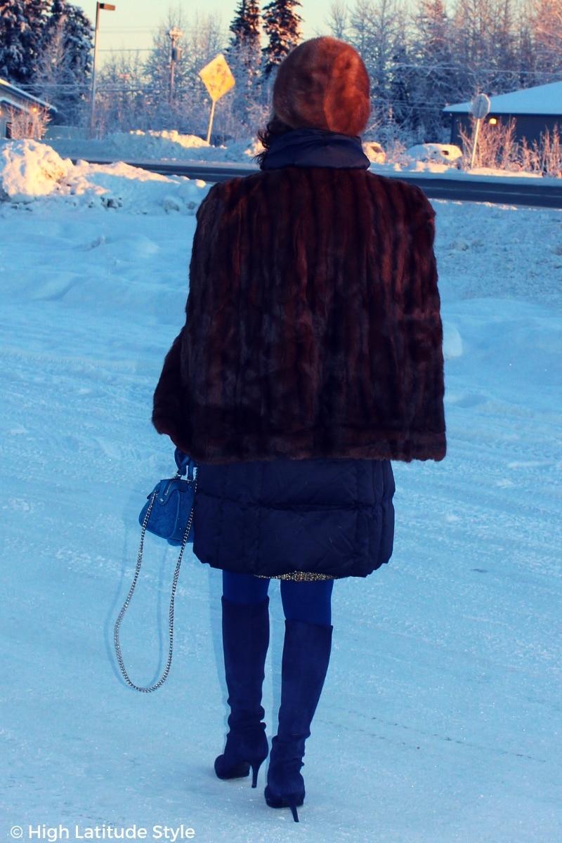 Alaskan woman doubling her outerwear #winterstyle
