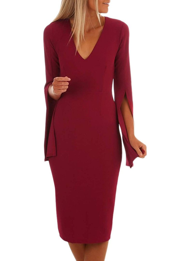elegant bell sleeves V-neck perfect for women over 60 years old for February 14
