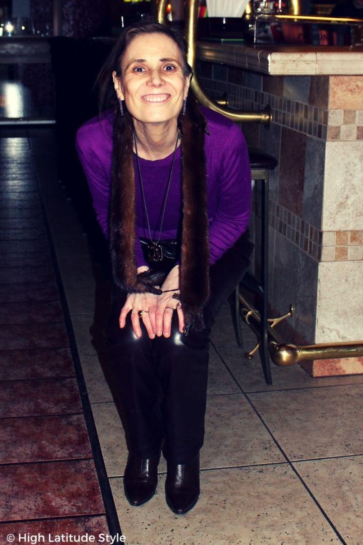 #midlifestyle older woman in purple brown winter casual look