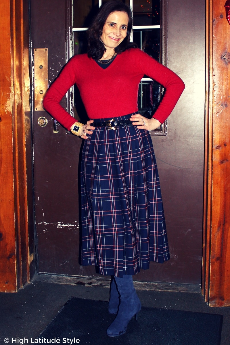 #fashionover50 mature woman in a winter red-white-blue office outfit
