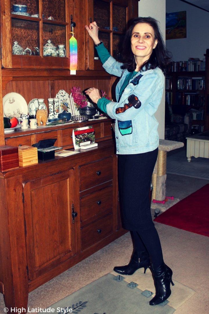 #over50fashion style blogger wearing layers for staying warm in winter