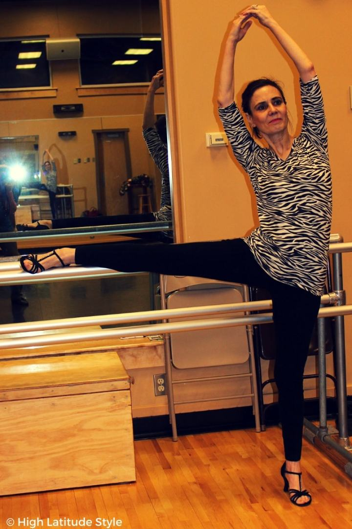 #Fashionover50 style blogger Nicole working out at the gym in a zebra top