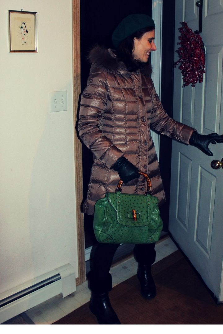 #over50style Nicole in neutral color winter outer wear