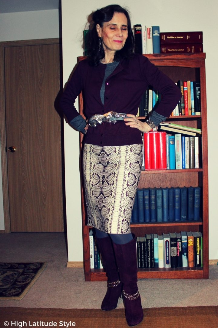 over 50 years old woman in Casual Friday winter look with panther buckle belt