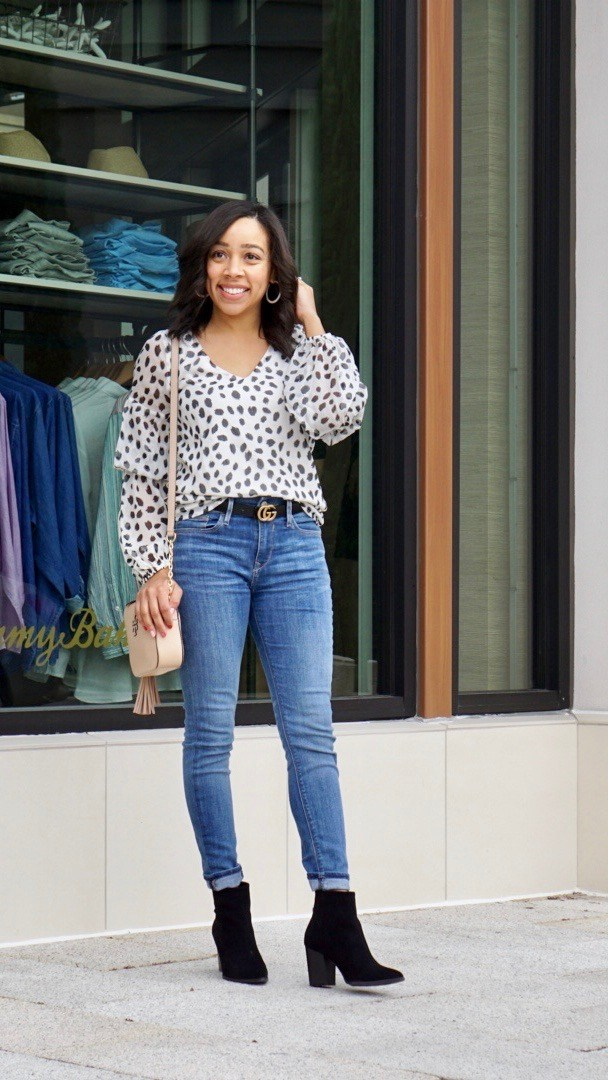Top of the World Style Winner Naihil in trendy dalmatiner print top