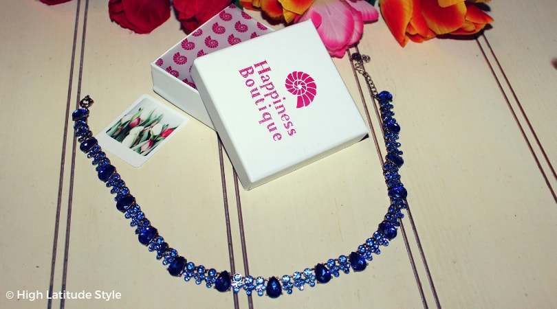 blue choker with deep and light blue crystals