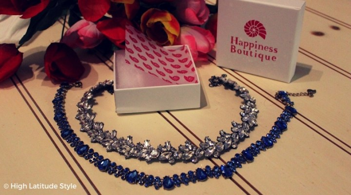 #jewelry joy statement necklace in serenity blue and dazzling vintage inspired statement necklace both c/o Happiness Boutique