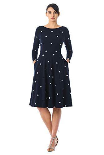 #agelessstyle eShakti blue white polka dot dress