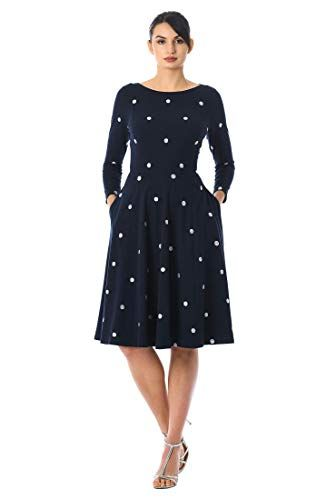 #agelessstyle eShakti blue white polka dot dress