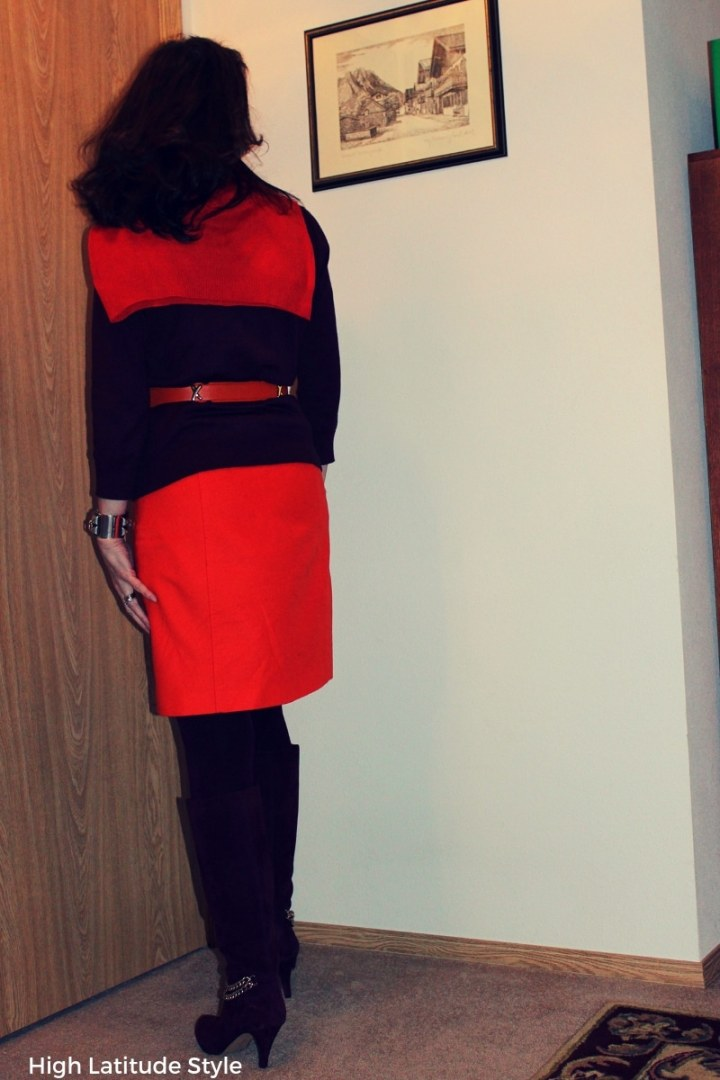 #colorblock woman in orange skirt with burgundy top