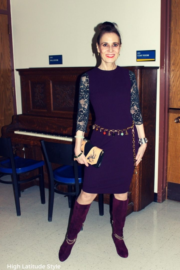 #advancedstyle style blogger in a semi-formal outfit with Cami Confidential top styled for a recital visit in winter