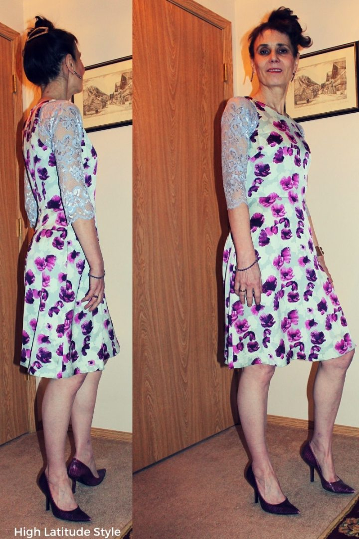 style blogger in abstract floral print fit-and-flare with lilac lace undertop and purple pumps