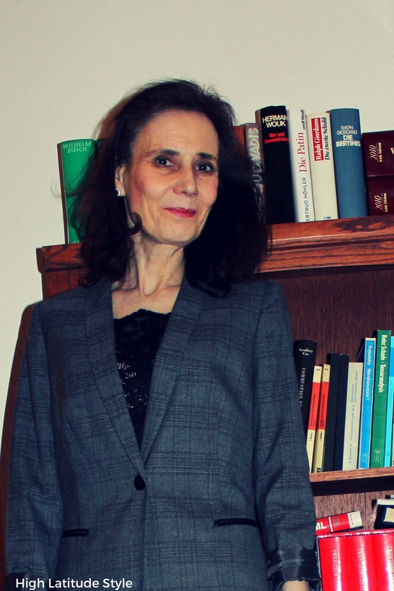 mature woman in cami and blazer