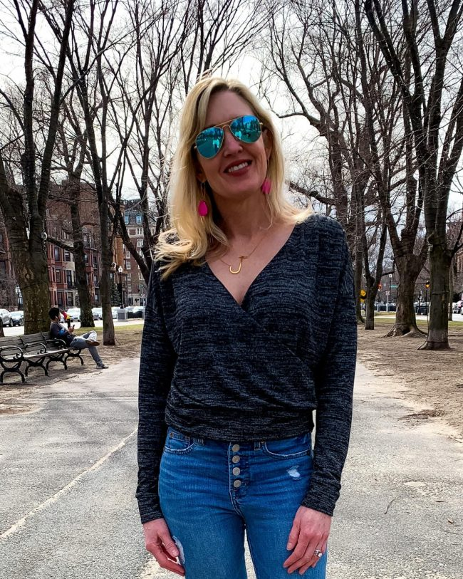 Top of the World OOTD Readers' Fav Jill of Doused in Pink in a jeans with wrap top casual look