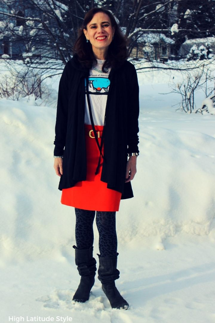 #workoutfit #TriciaTanaka cape hoodie with skirt, T-shirt, leo print tights, suede boots and belt