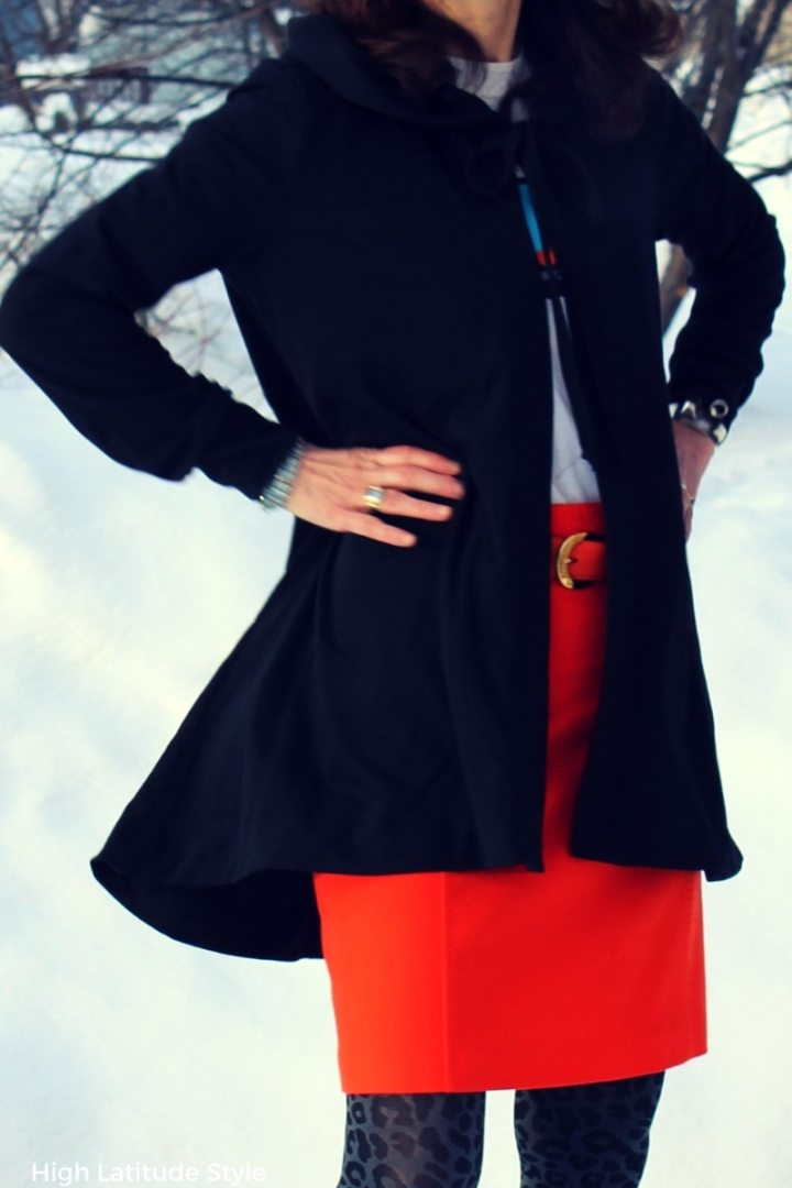 #cape.hoodie details of the designer cardigan