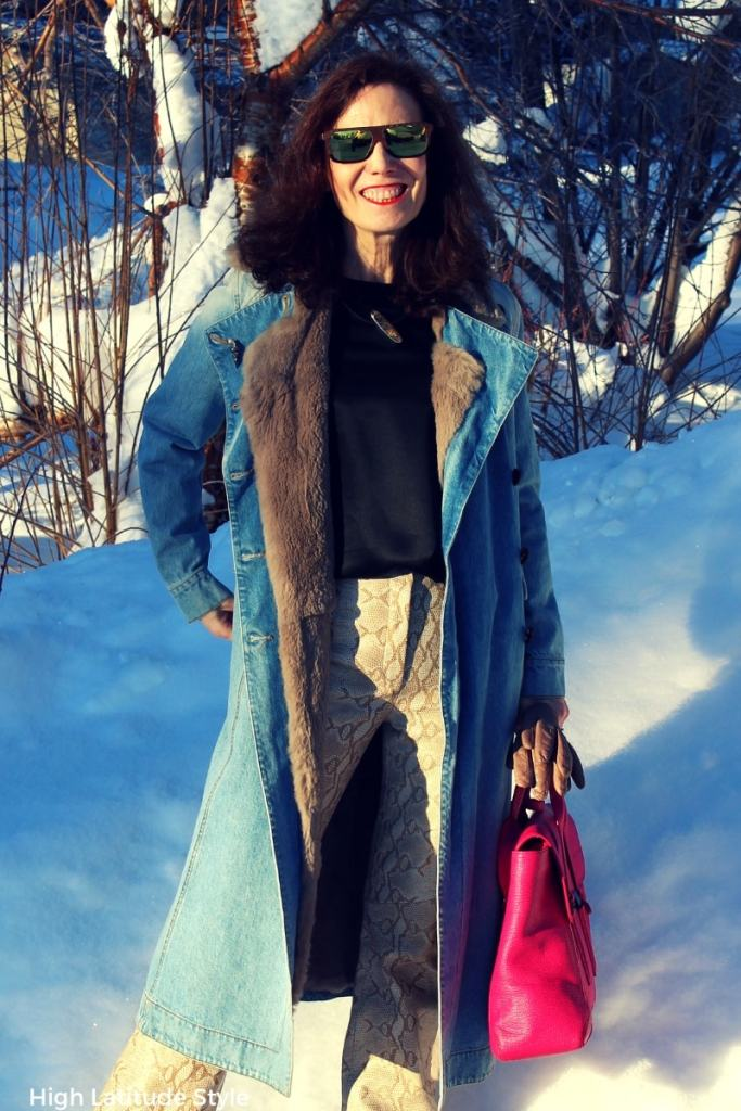 #styleover40 over 50 years old blogger in winter to all neutrals outfit with pop of fuchsia