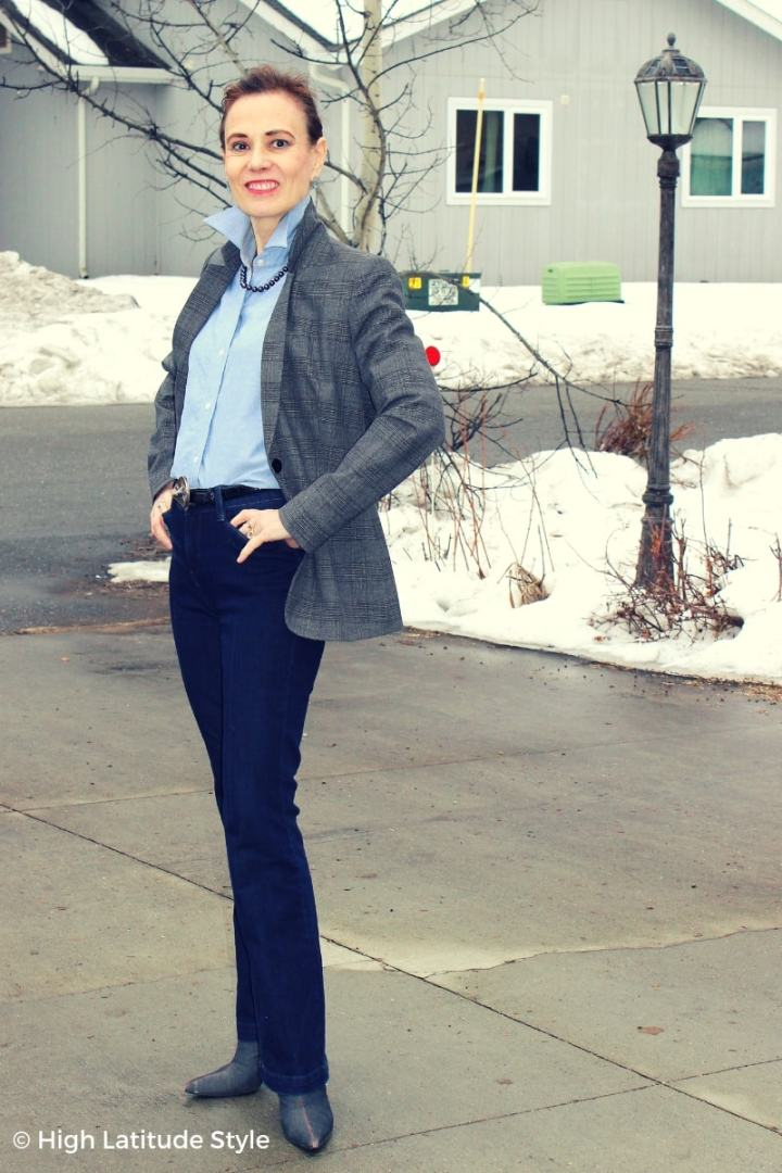 Nicole of High Latitude Style in business casual with mix of conseigned and first hand clothes