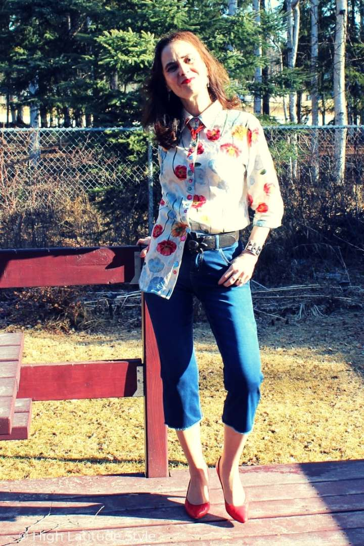 midlife woman in Casual Friday spring LOTD with buton-down, heels and jeans