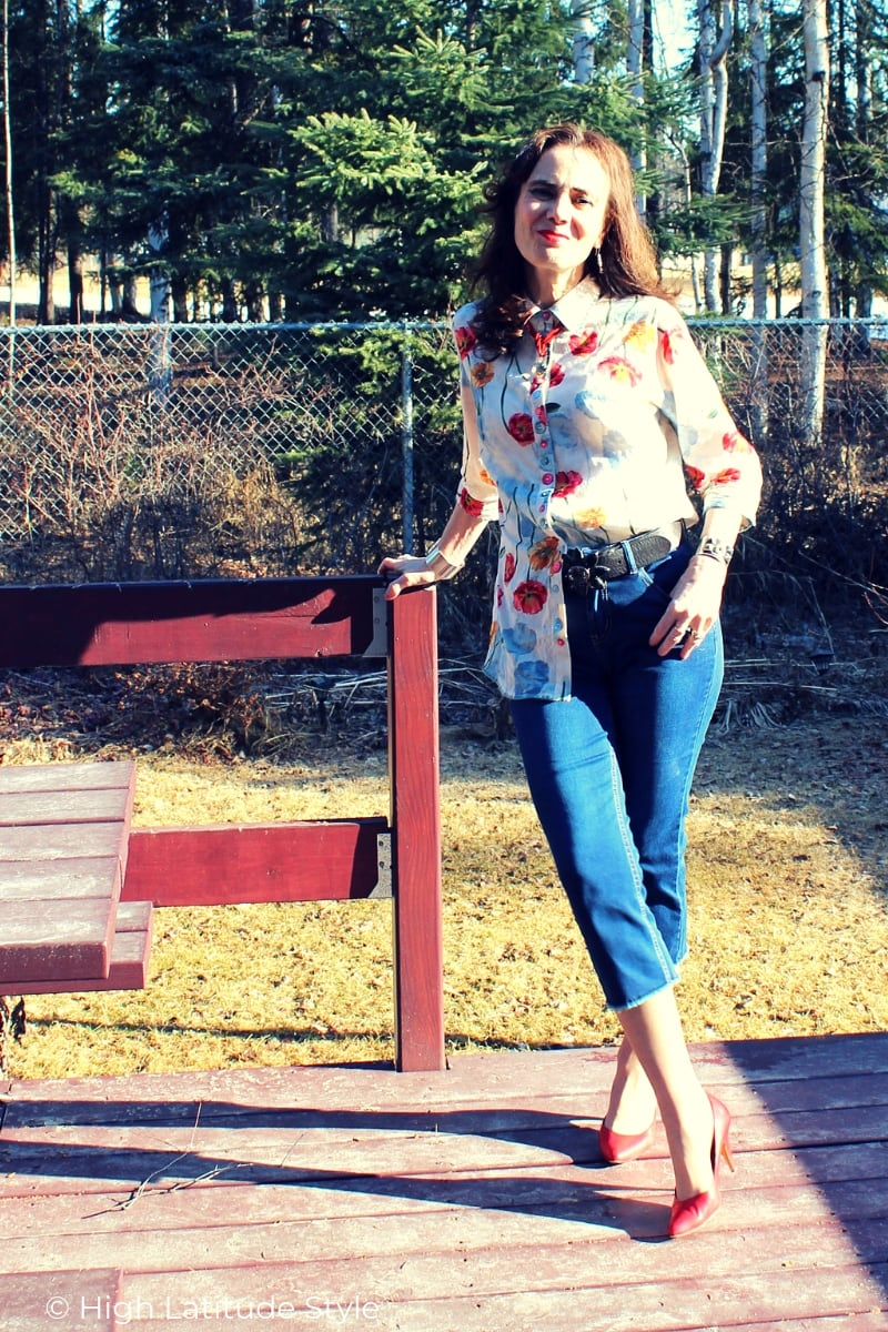 Review of a floral shirt and dressy capri from Ethyl Clothing