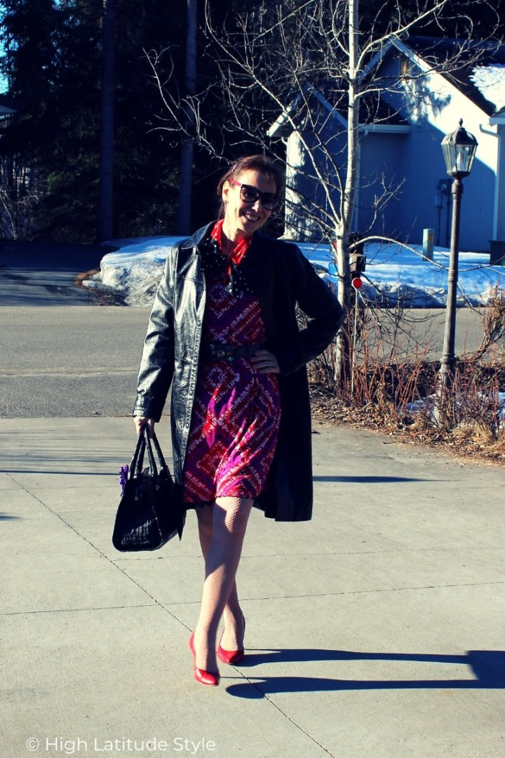 leather lady in trench coat and print dress