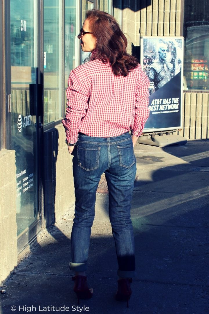 mature blogger in posh denim and gingham spring look