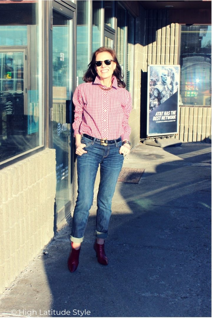 over 50 years old fashion blogger in red, white and blue preppy LOTD